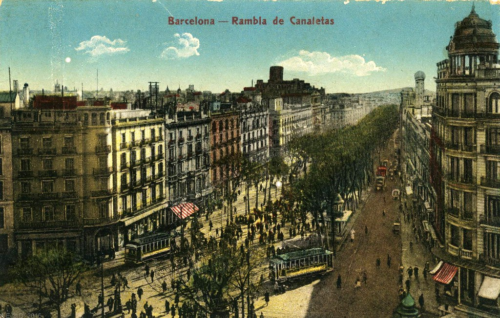 Avenue de la Rambla à Barcelone début 1900.