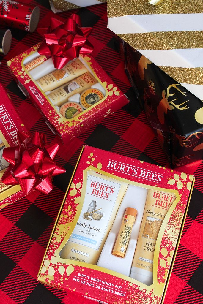 Burt's Bees Holiday Gift Sets for Everyone Plaid Tartan Wrapping Paper Christmas Presents