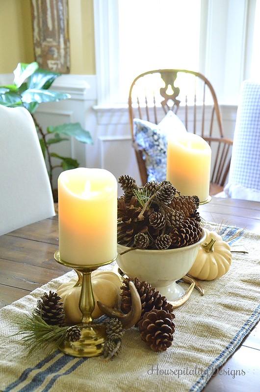 Fall Vignette - Antlers - Vintage Grain Sack - Pinecones - Faux Flickering Candles - Housepitality Designs