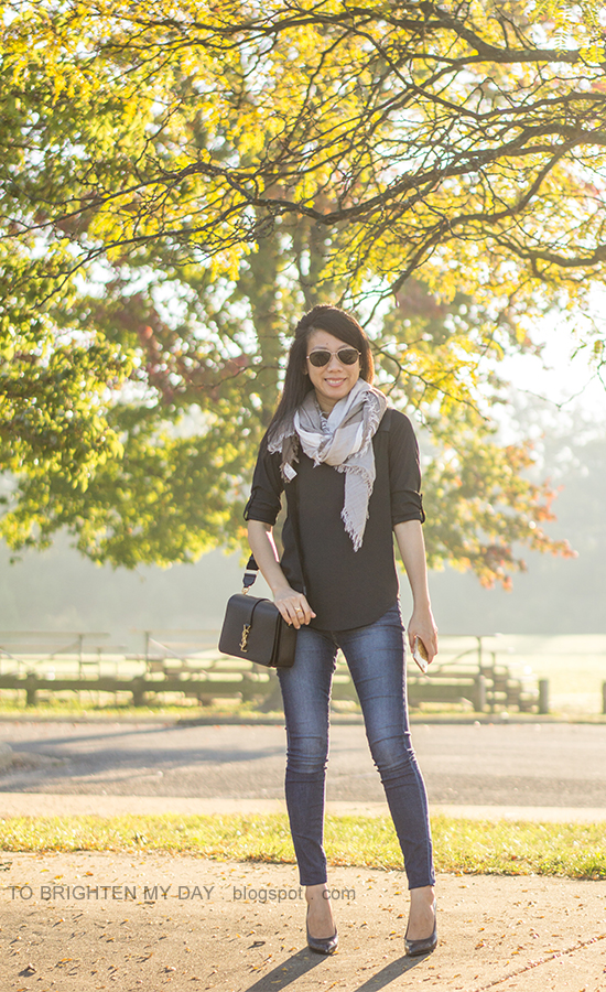 plaid scarf, black yoke top, skinny jeans, black crossbody bag, croc embossed pumps with wooden heels