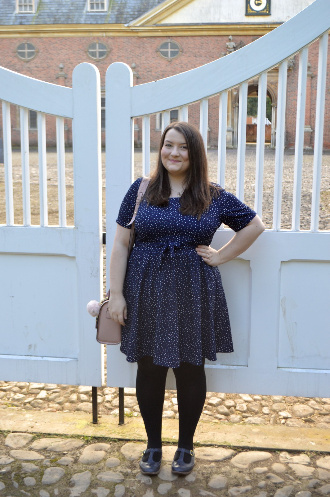 this is a photo of a navy blue and white polka dot dress
