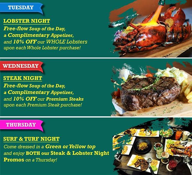 Steaks & Lobsters Weekday Special Menu