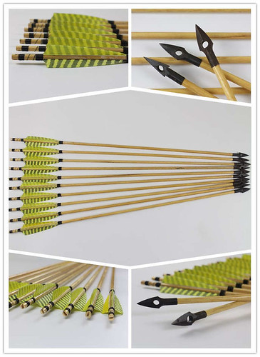 12 Pcs Medieval Style Wooden Hunting Arrows - ATC Archery