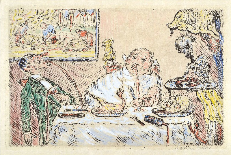 James Ensor -  Gluttony (La Gourmandise) from The Deadly Sins (Les Péchés capitaux) colored, 1904