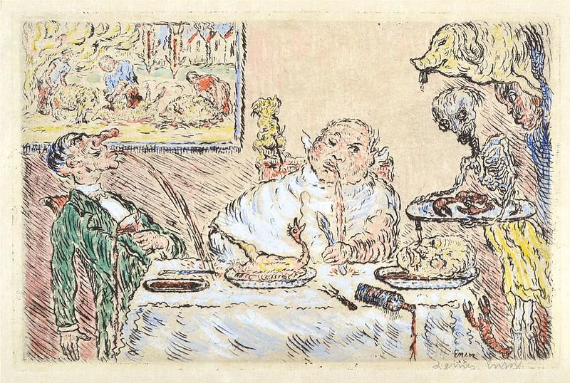 James Ensor - Gluttony (La Gourmandise) from The Deadly Sins (Les Péchés capitaux) colored, 1904