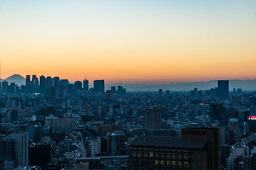 Overlooking the Shinjuku sunset from Bunkyo Civic Center