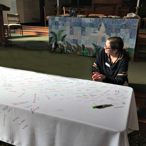The tablecloth is set up for the 2nd service