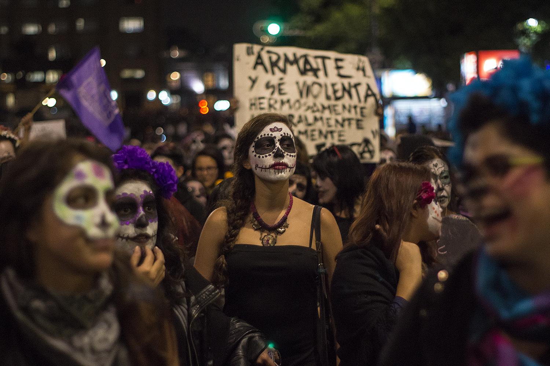 Catrinas marchan contra el Feminicidio