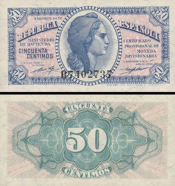 50 Centimos Španielsko 1937, P93
