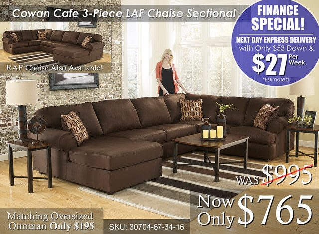 Cowan Cafe 3 piece Sectional FINANCE