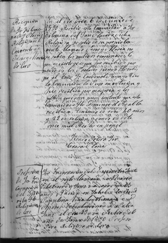 Nota sobre el ingreso de Sor Filomena de San Plácido el 16 de junio de 1890. Archivo del Convento de Santo Domingo el Real. Libro de Profesiones.