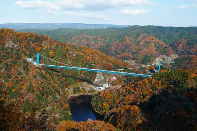 赤岩展望台から見た竜神大吊橋の紅葉