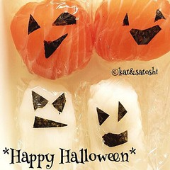 """from last year's halloween☆""""scary"""" sushi...have a safe one everyone!🎃  #halloween #sushi #japan"""