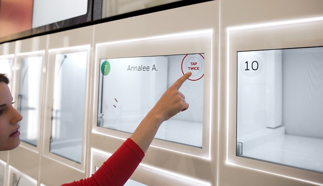 eatsa's glass cubbies display personalized messages about your order