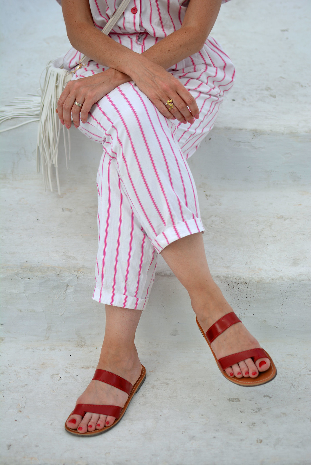Vintage DVF pink and white striped jumpsuit, red sandals