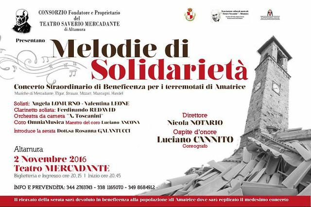 Locandina 'Melodie di solidarietà'