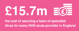 15.7 million pounds is the cost of securing a team of specialist Idvas for every NHS acute provider in England