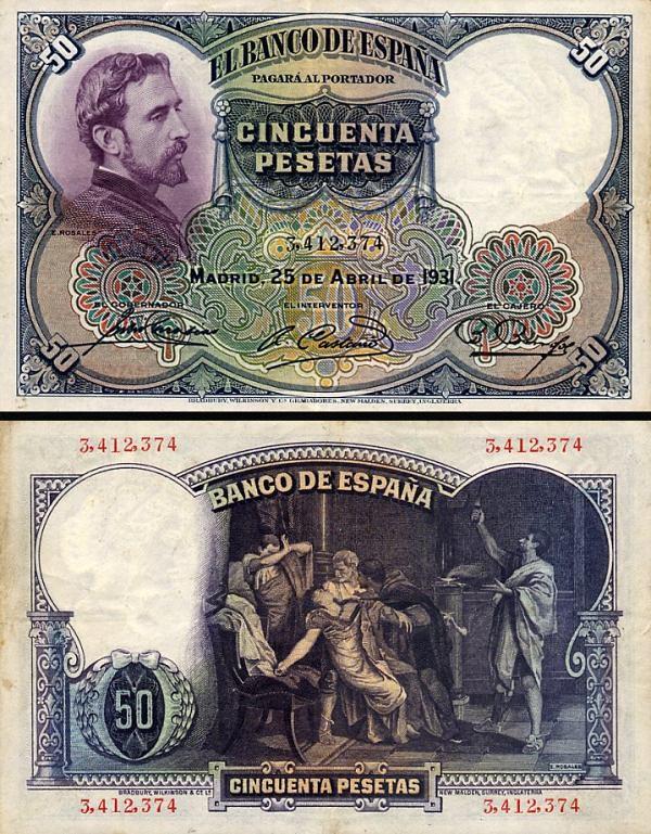 50 Pesetas Španielsko 1931, P82