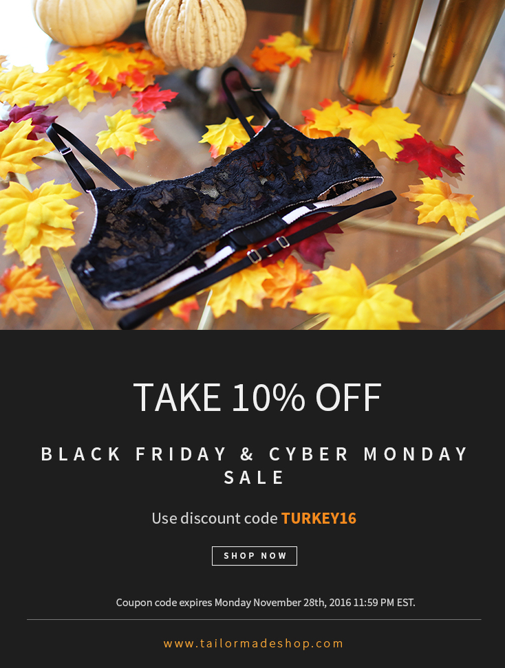 Tailor Made Shop Black Friday Cyber Monday Thanksgiving Sale