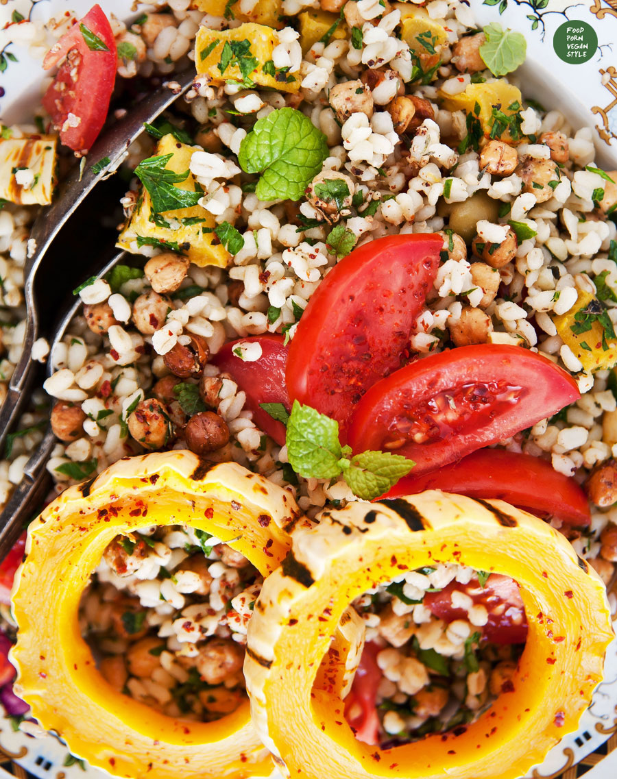 Bulgur salad with roasted delicata squash and chickpea crisps with za'atar