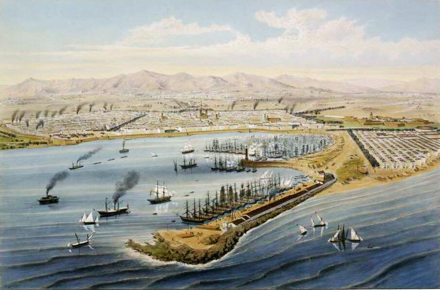 Le port de Barcelone et le quartier de Barceloneta (sur la droite) avant 1900.