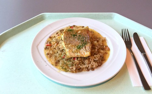 Orange poached coalfish on lentil rice / Orangenpochierter Seelachs auf Linsenreis