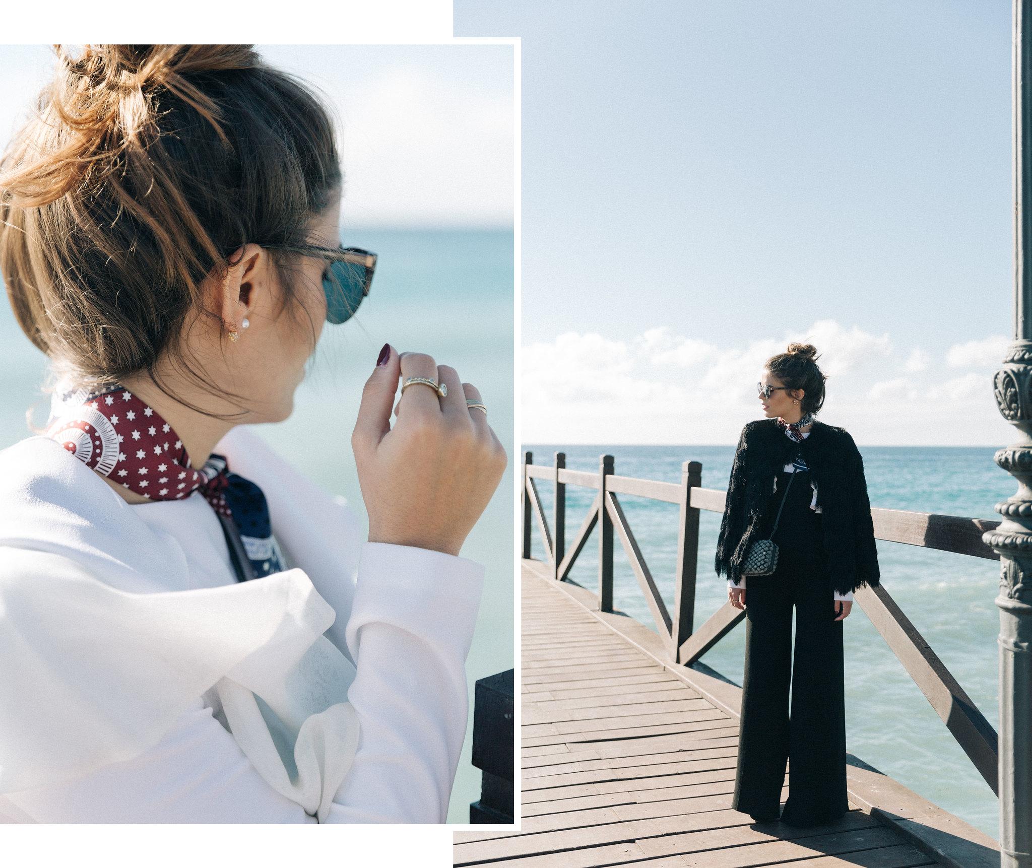 Jessie Chanes Seams for a desire - black jumpsuit ruffled white top abbacino marbella club -6