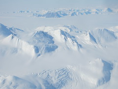 View of the Transantarctic Mountains during the flight from McMurdo Station to South Pole Station