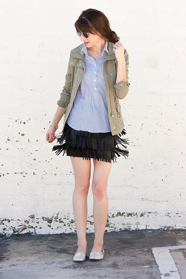 How to Style a Fringe Skirt, Cargo Jacket
