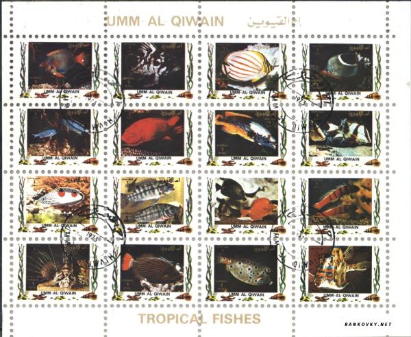 Známky Umm al Qaiwain 1972 Tropické ryby, razÃ-tkovaný blok