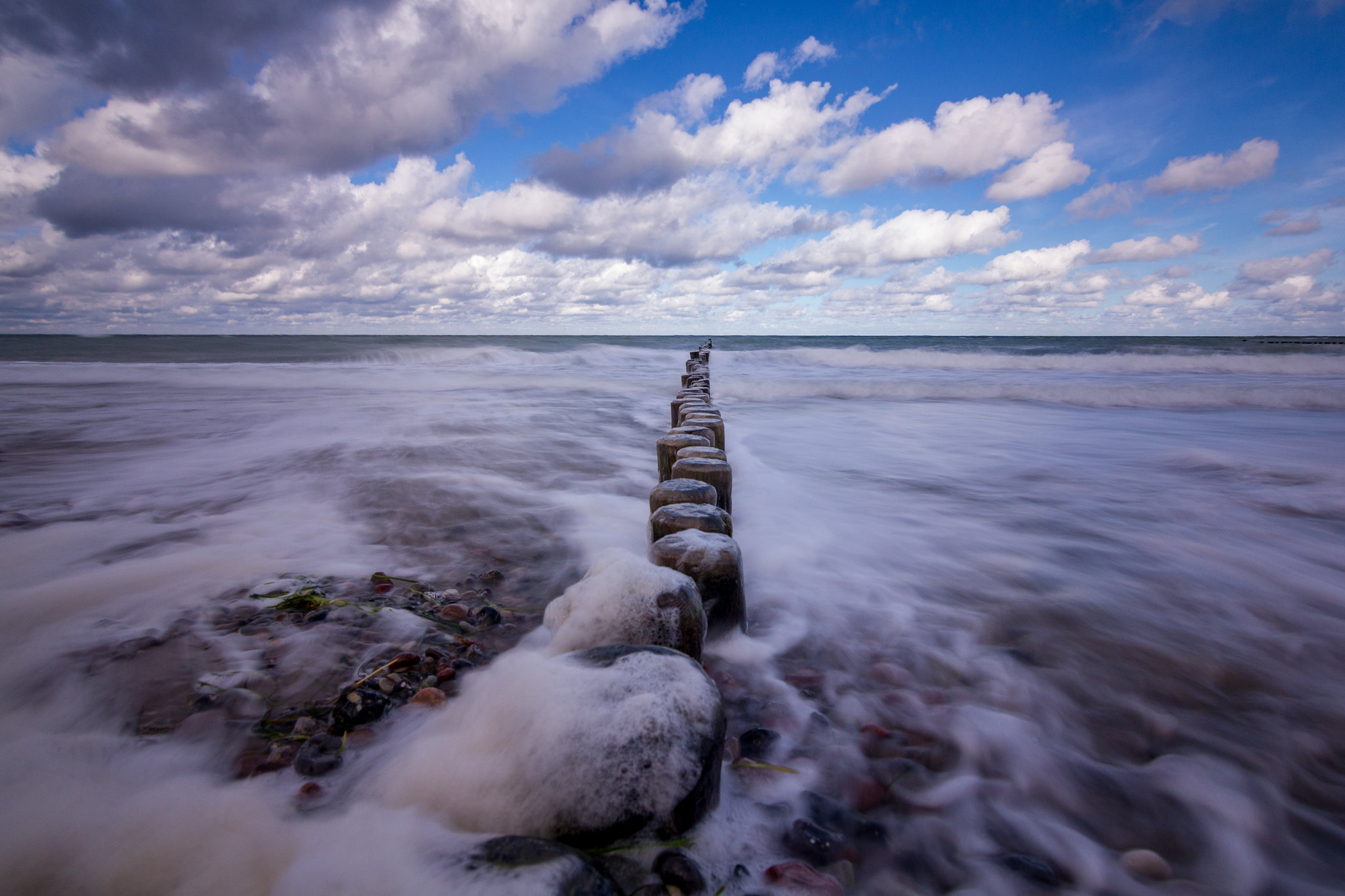 Breakwater and a wave