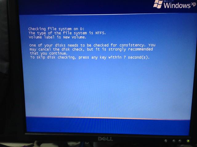 [WinXP] 開啟重覆執行 chddsk 指令-1