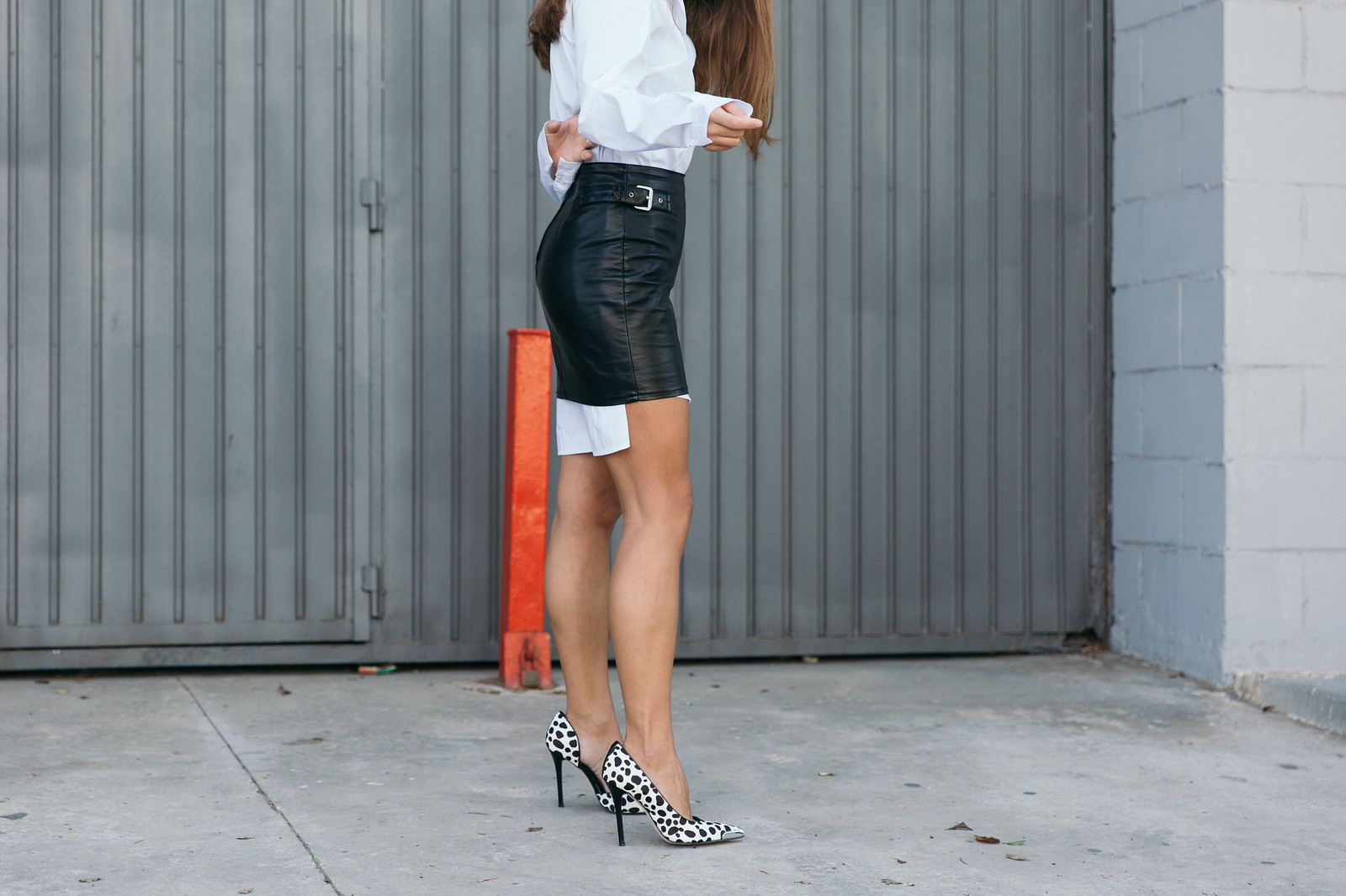 Jessie Chanes Seams for a desire - The Amity Company Oversized White Shirt Faux Leather Skirt Short Parka -11