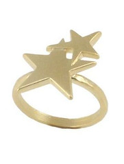 Lizzy O Danon Double Star Ring in Matt Gold