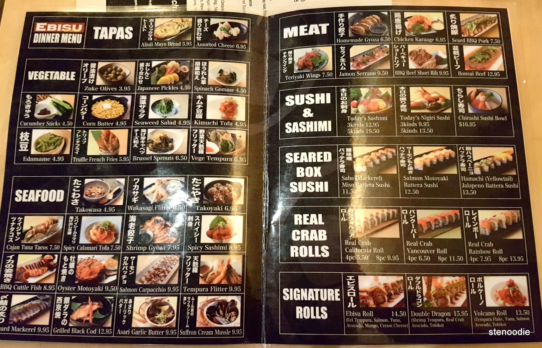 Ebisu tapas and sushi menu and prices