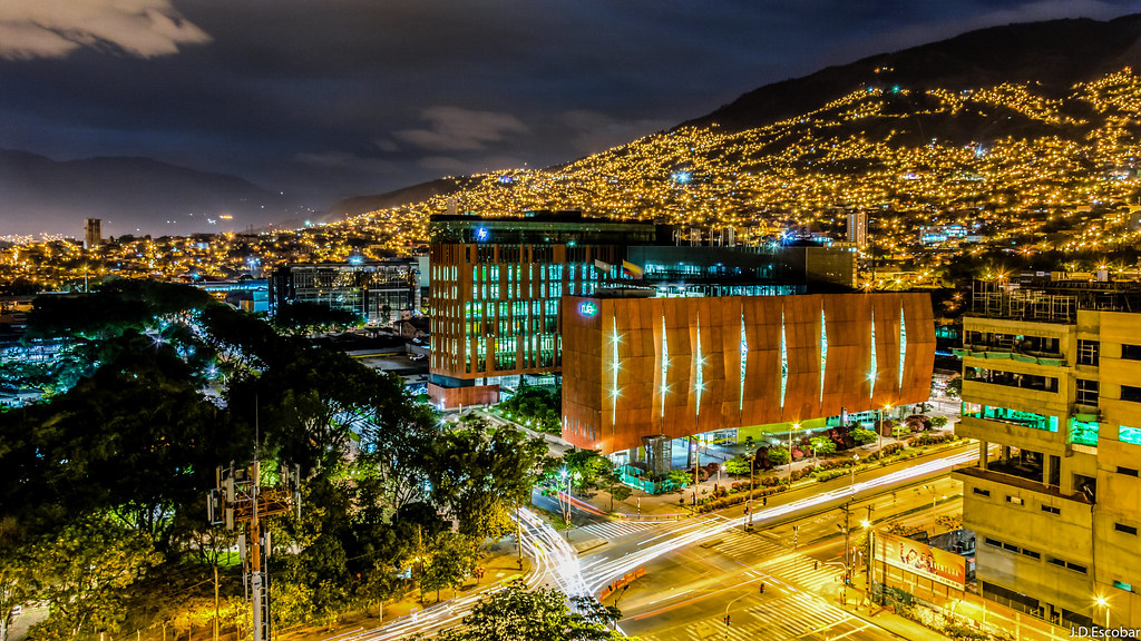 Medellín at night.