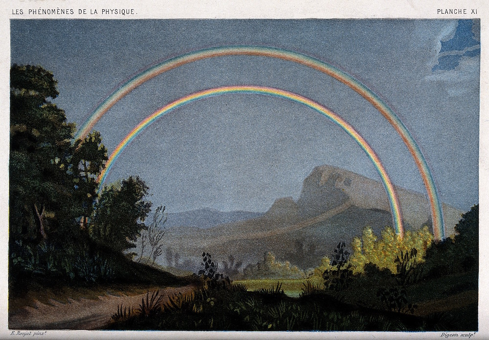 double rainbow Coloured lithograph by R.H. Digeon, 1868, after E. Ronjat. 1868 By: Étienne Antoine Eugène Ronjat after: René Henri Digeon