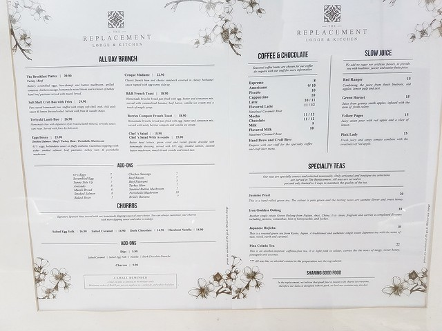 The Replacement Lodge & Kitchen Menu