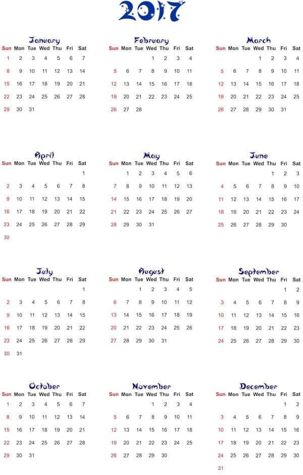 Календарные сетки 2017 года в PNG формате для Фотошоп