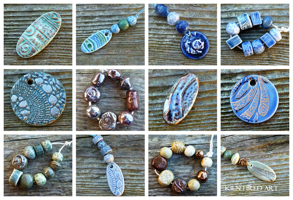 ceramic beads and pendants from Kiln Fired Art