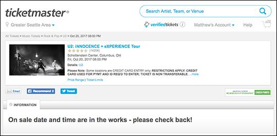 U2 Columbus on Ticketmaster