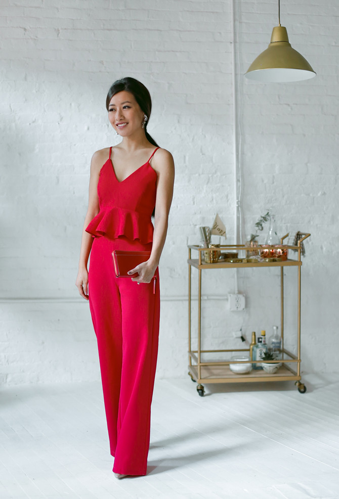 sleek elegant red pants suit holiday party outfit idea