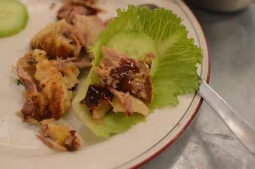 Duck bao in lettuce cup