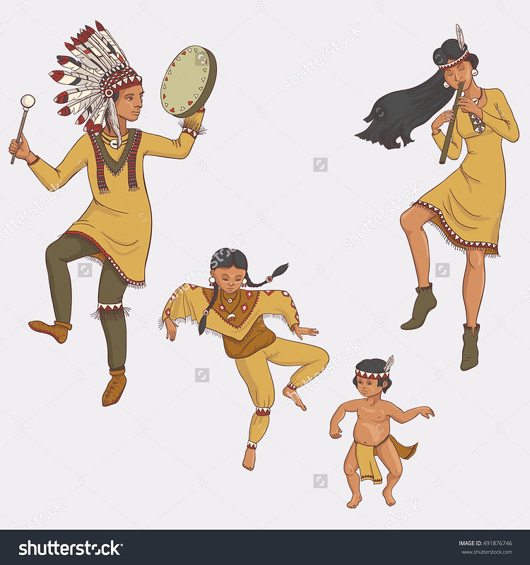 stock-vector-native-americans-dancing-indian-family-in-traditional-costume-with-flute-and-drum-hand-drawn-491876746