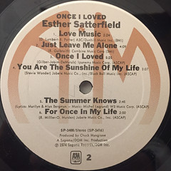 ESTHER SATTERFIELD:ONCE I LOVED(LABEL SIDE-B)