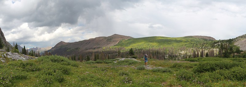 We ascend the final use trail to Rock Lake, with Rock Pass on the Continental Divide across the way
