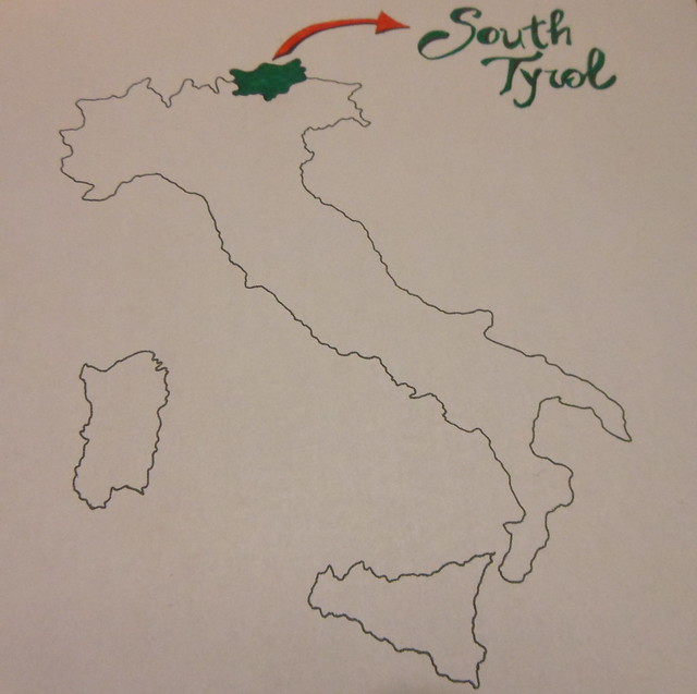 Map of South Tyrol, Italy