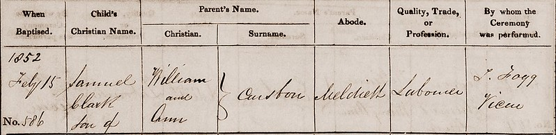 Samuel C baptism Meldreth 1852