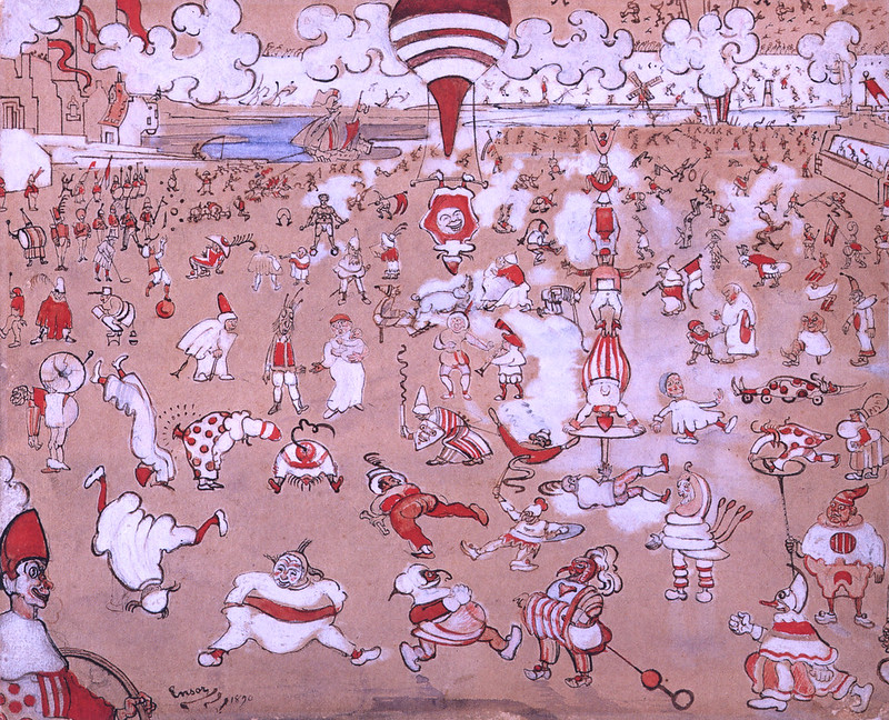 James Ensor - Red and White Clowns Evolving, 1890