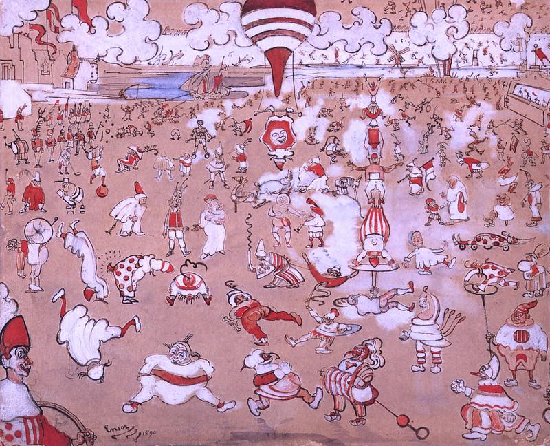James Ensor - Red and White Clowns Evolving, 1890
